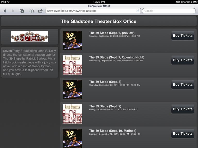 iPad Box Office Home Page